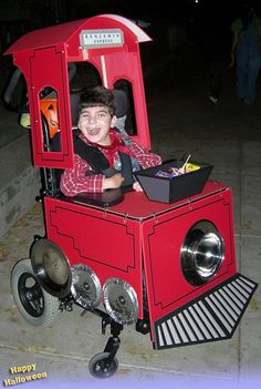 Train Wheelchair Halloween costume, with a smokestack candy dish.  Awesome.  :]