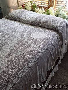 Exquisite! Antique French Normandy Lace Coverlet Lush Embroidery Bridal www.Vintageblessings.com