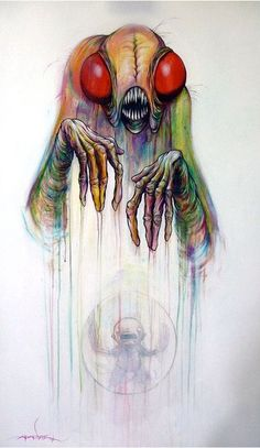 Alex Pardee Once again, a fly-like monster but not a dark image, a range of colours, both bright and soft. I love his drawing style too.