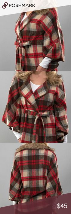 etwo / poncho + ETWO + plaid fur collar poncho + tie closure + removable fur collar + worn once  + size M  _like new, worn once brushed (super soft) flannel plaid poncho jacket with removable fur detail collar and suede edge binding, button and tie belt. ETWO Jackets & Coats Capes