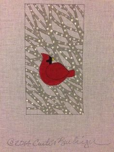 Curtis Boehringer The Winter Cardinal Hand Painted Needlepoint Canvas #CurtisBoehringer