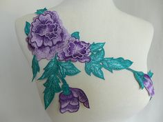 Beautiful flower applique, green leaf trim, lavender flower applique, bridal headpiece, wedding gown sewing supply  ▶ Listing is for 1 piece. ▶ Measures (approx): 12.6 x 6.7 (32 cm x 17 cm)  ▶ Qty: 1 pc ( Additional quantities are available.) DIY homemade fabric, wedding, bridal dress, ribbon flowers, jewelry design, doll clothes, cake, dolls, hang adorn, bra decoration, small parts, home decor... and so on, or any other crafts you like. *******Wholesale Acceptable…