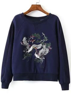 Shop Navy Crew Neck Crane Embroidered Sweatshirt online. SheIn offers Navy Crew Neck Crane Embroidered Sweatshirt & more to fit your fashionable needs.