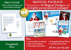 Watch your little one's eyes light up brighter than Rudolph's nose!! Create a printable personalized Letter from Santa!! Choose from 16 Magical Designs and 13 personalized messages! Both Free and $3.99 Magical Packages! || www.easyfreesantaletter.com