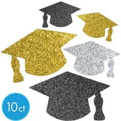 Grad Grad Assorted Mini Glitter Graduation Cutouts – Party City - New Sites College Graduation Parties, Graduation Party Supplies, Best Graduation Gifts, Graduation Party Decor, Grad Parties, Graduation Day, Gold Party Decorations, Graduation Decorations, Graduation Cupcake Toppers