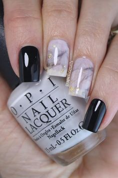 Black and White Marble Smoosh Mani