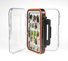 Deluxe Two Sided Waterproof Fly Box  http://fishingrodsreelsandgear.com/product/deluxe-two-sided-waterproof-fly-box/  Double-sided, waterproof, stainless hinge pins, snap tight latches High density long lasting foam with 3M adhesive Clarified durable ABS Plastic