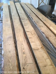 Easiest Faux Beams Ever! - Pine and Prospect Home Fake Wood Beams, Faux Wooden Beams, Exposed Beams, Wooden Trim, Weathered Wood Stain, Staining Pine Wood, Ceiling Beams, Vaulted Ceiling Decor, Beamed Ceilings