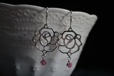 Silver Rose Earrings with Rose Pink Swarovski by WillowBeadsDesign