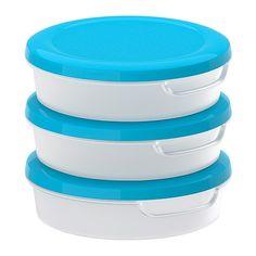 JÄMKA Boks med lokk, transparent hvit, blå transparent hvit/blå 0.3 l