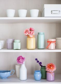 Chalky Pastel Jam Jars | http://www.bhg.com/blogs/better-homes-and-gardens-style-blog/2014/05/14/chalky-pastel-jam-jars-decorate-with-flowers-book-giveaway/