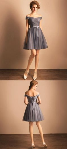 Princess Party Dresses, Short Prom Dresses,Off-the-shoulder Grey Homecoming Dress, Sexy Ruffles Short Prom Dress,Short Party Dress
