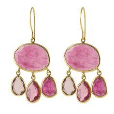 Urchin Earrings in Pink Tourmaline & 18k Gold – Pied Nu