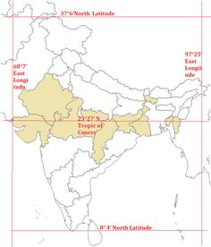 Indian States through which Tropic of Cancer passes India World Map, India Map, India Travel, Geography Activities, Geography Map, General Knowledge Book, Gernal Knowledge, Equator Map, Art Drawings Sketches Simple