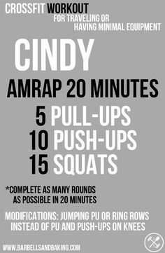 CrossFit Workout for Traveling or Having Minimal Equipment | Cindy - Pull-ups, Push-ups & Squats | www.barbellsandbaking.com