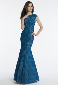 Camille La Vie Lace Prom Dress with Trumpet Skirt