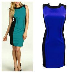 "HP Calvin K Blue & Black Color Block Shift Dress Fully lined /  Rear Inseam Zipper / Length 36.25""/ Bust 36"" / Waist 30""/ Hips 40""/ Rayon-Polyester-Spandex Calvin Klein Dresses"