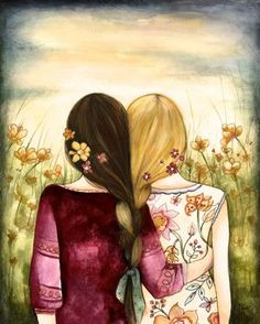 """A sister is a little bit of childhood that can never be lost."" Art by Claudia Tremblay Best Friend Drawings, Bff Drawings, Gifts For Friends, Best Friends, Sister Gifts, Friends Image, Claudia Tremblay, Fantasy Magic, Sister Quotes"