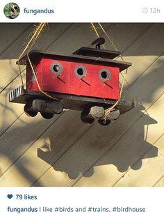 Toy train birdhouse