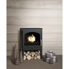 NEW - Wood Burner Style Traditional Bioethanol Stove With Logs