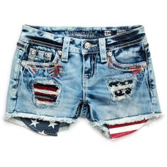 Miss Me Girl's Firecracker American Shorts ($75) ❤ liked on Polyvore featuring shorts