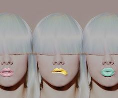 Posh pastel lips in pink, yellow and mint.