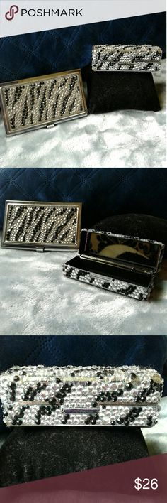 2 Zebra rhinestone lipstick & ID case with mirror Adorable lipstick case with mirror and ID case with mirror. Covered in a zebra rhinestone pattern  Never used!! Like new!! Thanks for looking!! Accessories