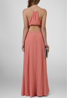 Vestido longo de seda com recortes salmon Animale - powerlook-V-MOB