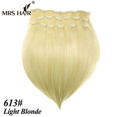 "613# Indian Virgin Remy Clip In Hair Extensions 8 pcs/set Full Head Light Blonde Straight Clip In Human Hair Extension 16"" - 22"""