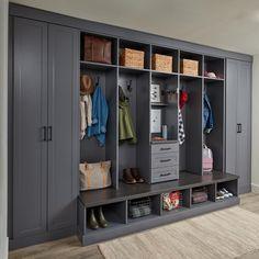 Mudroom Laundry Room, Bench Mudroom, Mudroom Cabinets, Entryway Storage, Entryway Ideas, Organized Entryway, Custom Closets, Closet Designs, Home Organization