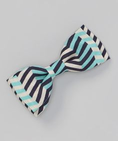 This Turquoise & Black Chevron Bow Tie by Lindsey Lee and Co. is perfect! #zulilyfinds
