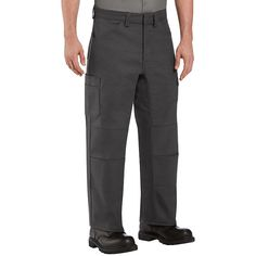 Men's Red Kap Performance Shop Pants, Size: 40X28, Grey