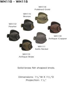 Whitehaus Collection-Cabinet Knob-Solid Brass Fish Shaped Knob
