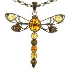 BALTIC AMBER AND STERLING SILVER 925 DESIGNER MULTI-COLOURED DRAGONFLY