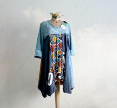 Boho Lagenlook Top Plus Size Dress Wearable by BrokenGhostClothing