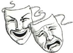 """Drama and writing have a lot in common. There is much in the craft of each discipline that translates across. One such piece of lore, coming from drama, is """"subtext"""". For … Continue reading → What Is Comedy, Tattoo Mascara, Theater Mask Tattoo, Theater Masks, Yen Yang, Comedy Tragedy Masks, Mask Drawing, Character Creation, Clowns"""