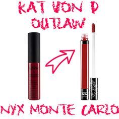 Kat Von D Outlaw Dupe NYX Monte Carlo www.lipstickdupe.com