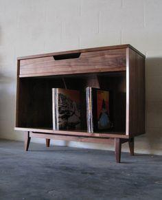 Walnut Record Storage Cabinet от WileyJames на Etsy