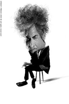 Bob Dylan, illustration of Ernesto Priego