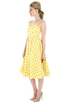 Priscilla Lemon Gingham Midi Dress - view 5