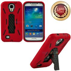 "Amazon.com: myLife (TM) Red + Black Shockproof Survivor (Built In Kickstand) Case for the Samsung Galaxy S4 Phone ""Fits Models: I9500, I9505..."