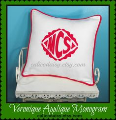 The Veronique Applique Monogrammed Pillow Cover  16 by calicodaisy, $55.00