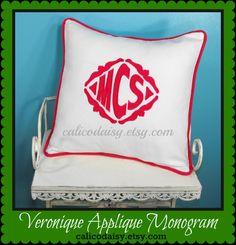 The Veronique Applique Monogrammed Pillow Cover  16 by calicodaisy, $55.00