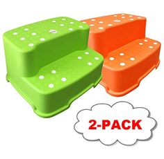 Tenby Living Green and Orange Extra-Wide, Extra-Tall Jumbo Step Stool with Removable Non-Slip Caps and Anti-Slip Rubber Grips * Find out more about the great product at the image link. (This is an affiliate link) Open Kitchen, At Home Store, Green And Orange, Kids House, Kids Furniture, Games For Kids, How To Remove, Packing, Step Stools