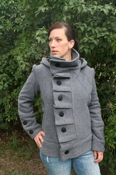 Ruffle front Polartec fleece womens hooded jacket, buttons, high collar, cranberry, gray, made to order, (UNLINED). $170.00, via Etsy.