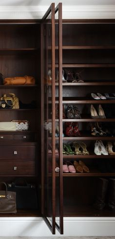 Made to measure walnut wardrobe. Shoe storage. Bespoke cabinet makers. Hand made in London. www.timamery.com