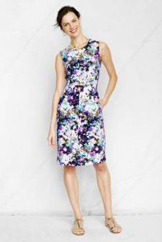 Women's Plus Size  Sleeveless Pattern Ponté Welt Pocket  Dress from Lands' End