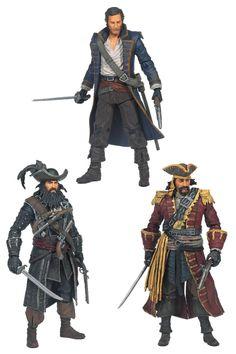 Pack de 3 Figuras Piratas 15 cm. Assassin's Creed IV: Black Flag. McFarlane Toys Bonito pack formado por 3 importantes figuras de piratas protagonistas del exitoso videojuego Assassin's Creed de 15 cm de altura, fabricadas en material de PVC y 100% oficiales y licenciadas.