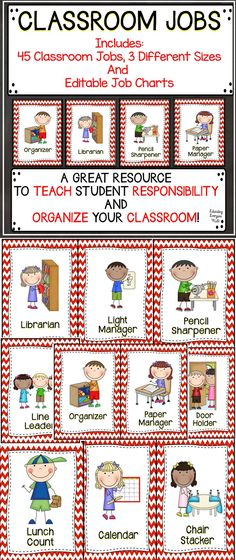 These classroom jobs will help you organize your classroom. There are three different sizes included in this resource.