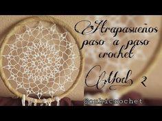 ATRAPASUEÑOS... MODELO 2. PASO A PASO A CROCHET / GANCHILLO. - YouTube Crochet Doilies, Crochet Stitches, Mandala Crochet, Irish Crochet, Knit Crochet, Dream Catcher Mandala, Diy And Crafts, Arts And Crafts, Mandala Art